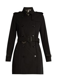 Burberry Kensington Mid Length Gabardine Trench Coat Black