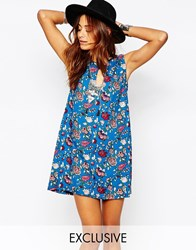 Milk It Vintage Floral Print Dress With Key Hole Detail Blue
