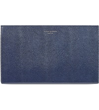 Aspinal Of London Large Leather Lizard Embossed Cosmetic Case Navy