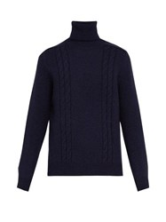 Gucci Gg Embroidered Wool Blend Roll Neck Sweater Navy