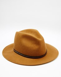 Catarzi Fedora Hat With Leather Trim Brown