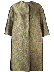 Lanvin Floral Oversize Button Up Coat Multicolour