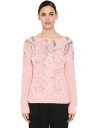 Ermanno Scervino Embellished Wool And Acrylic Knit Sweater Pink
