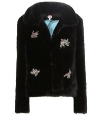 Shrimps Little Star Embellished Faux Fur Coat Black
