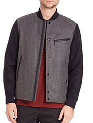 Rag And Bone Irving Wool Varsity Jacket Charcoal