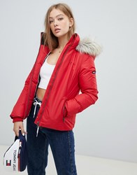 Tommy Jeans Down Feather Jacket Red