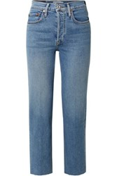 Re Done Originals Stove Pipe Comfort Stretch High Rise Straight Leg Jeans Mid Denim