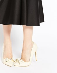 Ax Paris Nina Cut Out Bow Heeled Court Shoes Cream Beige