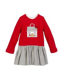Mayoral Fleece House Applique Long Sleeve Dress Red