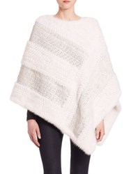 The Fur Salon Knit Mink Poncho White
