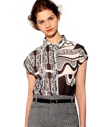 Pixie Market Black And White Tribal Print Shirt