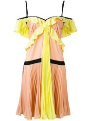 Marco Bologna Crepe Georgette Pleated Dress Women Polyester Spandex Elastane 40