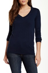 Splendid V Neck Pullover Blue