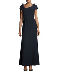 Armani Collezioni Asymmetric Cap Sleeve A Line Gown Midnight