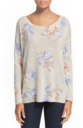 Women's Joie 'Jenka' Floral Print Cashmere Pullover