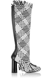 Proenza Schouler Woven Leather Knee Boots White