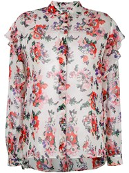 Msgm Floral Print Sheer Shirt White