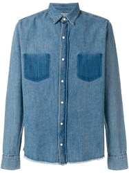 Rta Frayed Hem Denim Shirt Blue