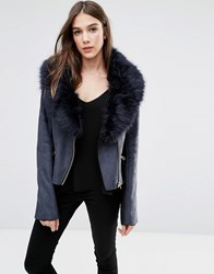 Barney's Originals Faux Shearling Jacket With Faux Fur Collar Black