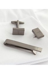 Cathy's Concepts Monogram Cuff Links And Tie Bar Set