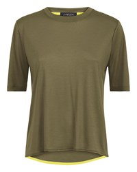 Jaeger Curved Hem Crew Neck T Shirt Green