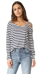 Feel The Piece Riri Cold Shoulder Top Navy White Stripe