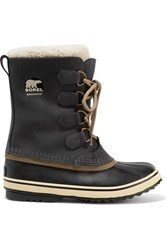 Sorel 1964 Pac 2 Fleece Trimmed Nubuck And Rubber Snow Boots Charcoal