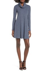 Socialite Women's Maddie Rib Knit Cowl Shift Dress Heather Navy