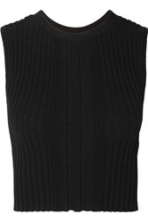 Dion Lee Opacity Cropped Ribbed Knit Tank Black