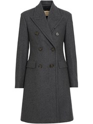Burberry Double Breasted Wool Tailored Coat Grey