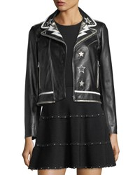 Red Valentino Leather Moto Jacket W Star And Lightning Bolt Intarsia Black White