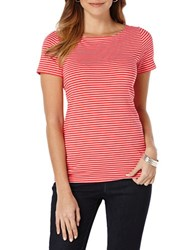 Rafaella Striped Boatneck Tee Lollipop