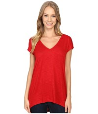 Lilla P Pima Modal Slub Short Sleeve V Neck Garnet Women's Clothing Red