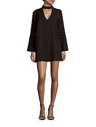 Lucca Couture Solid Long Sleeve A Line Dress Black