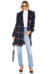 Kendall Kylie Oversized Wool Coat Navy