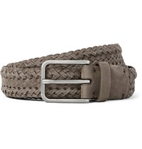 Brunello Cucinelli 3Cm Grey Braided Suede Belt Gray