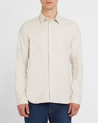 M.Studio Beige Romain Classic Collar Slim Fit Shirt
