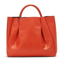 Alexandra De Curtis Maxi Ruched Tote Orange Red