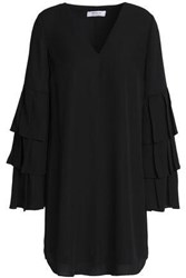 Bailey 44 Pleated Tiered Crepe Mini Dress Black