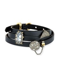 Alexis Bittar Multi Wrap Leather Charm Bracelet Black Yellow Silver