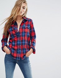 Lee Check Shirt Primary Red Multi