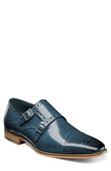 Stacy Adams Tayton Cap Toe Double Strap Monk Shoe Blue Leather