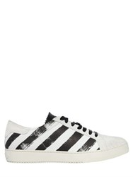 Off White Brushed Stripes Leather Sneakers