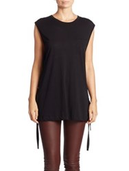 Helmut Lang Side Tie Cotton Cashmere Blend Top Black