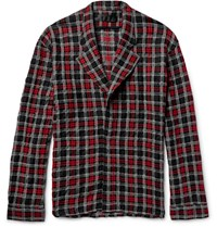 Haider Ackermann Overized Checked Wool Cotton And Alpaca Blend Hirt Jacket Red