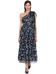 Luisa Beccaria Embroidered One Shoulder Tulle Dress Blue