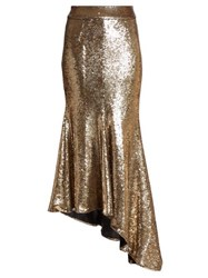 Alexandre Vauthier Asymmetric Sequinned Midi Skirt Gold