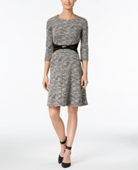 Calvin Klein Petite Belted Fit And Flare Sweater Dress Gray Black