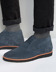 Dune Chukka Boots In Blue Suede Blue