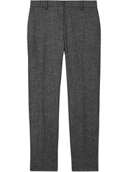 Burberry Wool Cashmere Tweed Cropped Tailored Trousers Black